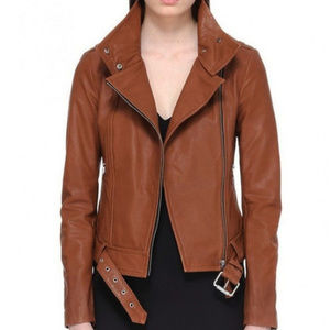 RARE Mackage Hania Leather jacket in Cognac, Small